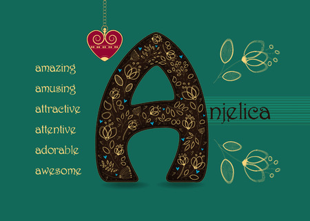 Name Day Card for Anjelica. Artistic brown letter A with golden floral decor. Vintage red heart with chain. Words begining with the letter A - amazing, amusing, adorable, attentive, attractive, awesome