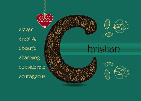 Name Day Card for Christian. Artistic brown letter C with golden floral decor. Vintage heart with chain. Words begining with the letter C - clever, cheerful, creative, considerate, courageous, charming Illustration