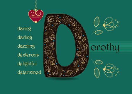 Name Day Card for Dorothy. Artistic brown letter D with golden floral decor. Vintage heart with chain. Words begining with the letter D - determined, dexterous, daring, darling, delightful, dazzling