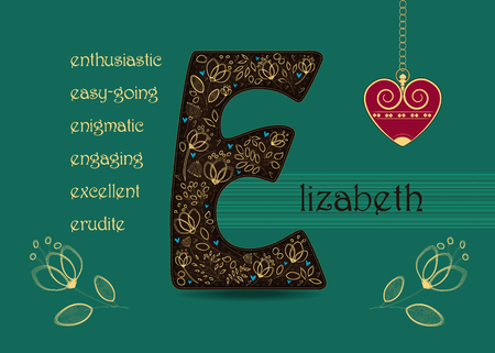 Name Day Card for Elizabeth. Brown letter E with golden floral decor. Vintage red heart with chain. Words begining with the letter E - easy-going, anthusiastic, enigmatic, engaging, erudite, excellent