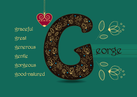 Name Day Card for George. Artistic brown letter G with golden floral decor. Vintage red heart with chain. Words begining with the letter G - gentle, good-natured, great, gorgeous, generous, graceful