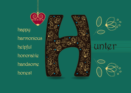 Name Day Card for Hunter. Artistic brown letter H with golden floral decor. Vintage red heart with chain. Words begining with the letter H - honest, happy, honorable, harmonious, helpful, handsome