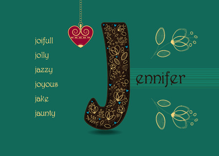 Name Day Card for Jennifer. Artistic brown letter J with golden floral decor. Vintage red heart with chain. Words begining with the letter J - joyfull, joyous, jolly, jake, jaunty, jazzy