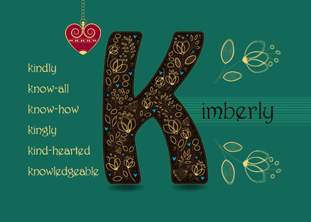 Name Day Card for Kimberly. Brown letter K with golden floral decor. Vintage red heart with chain. Words begining with the letter K - kingly, kindly, kind-hearted, know-how, know-all, knowledgeable
