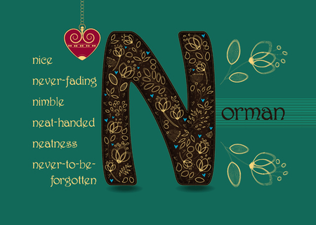 Name Day Card for Norman. Brown letter N with golden floral decor. Vintage heart with chain. Words begining with the letter N - nice, nimble, never-fading, neat-handed, neatness, never-to-be-forgotten