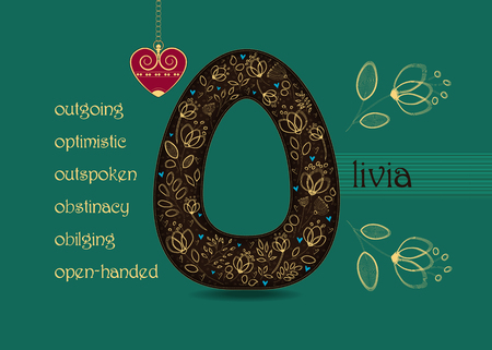 Name Day Card for Olivia. Brown letter O with golden floral decor. Vintage red heart with chain. Words begining with the letter O - outgoing, open-handed, optimistic, outspoken, obstinacy, obilging