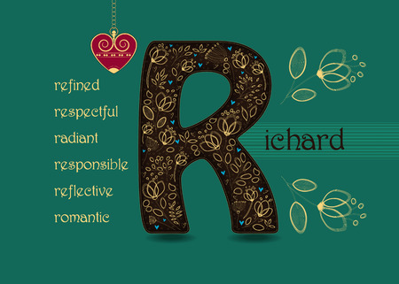 Name Day Card for Richard. Brown letter R with golden floral decor. Vintage red heart with chain. Words begining with the letter R - refined, respectful, radiant, responsible, romantic, reflective Illustration
