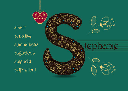 Name Day Card for Stephanie. Brown letter S with golden floral decor. Vintage red heart with chain. Words begining with the letter S - smart, sympathetic, sensitive, self-reliant, splendid, sagacious
