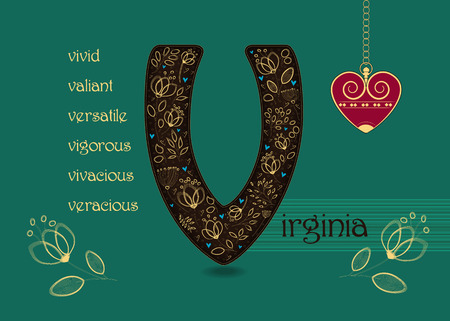 Name Day Card for Virginia. Artistic brown letter V with golden floral decor. Vintage red heart with chain. Words begining with the letter V - vivid, veracious, valiant, vigorous, vivacious, versatile Ilustração
