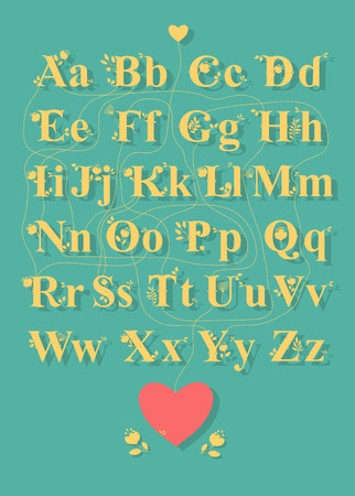 Artistic alphabet with encrypted romantic message Thanks for being you. Yellow letters with floral decor - graceful silhouettes of flowers and plants. Yellow heart is as the begining of the message. Red heart is as the end . Illustration
