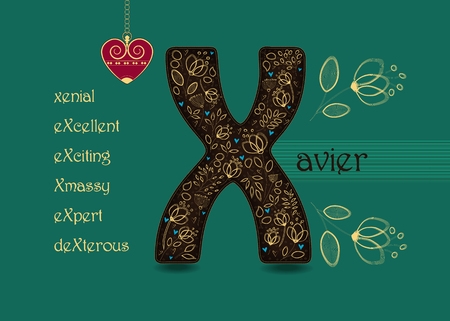 Name Day Card for Xavier. Artistic brown letter X with golden floral decor. Vintage red heart with chain. Words with the letter X - xenial, xmassy, excellent, exciting, expert, dexterous