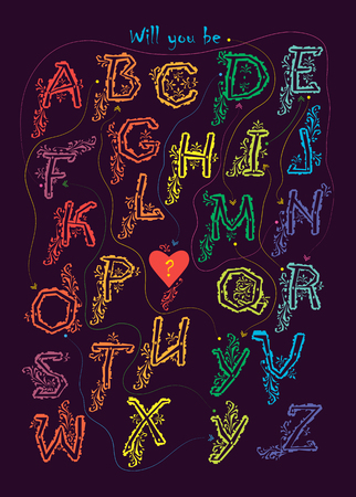 Artistic alphabet with encrypted romantic message - Will you be my boyfriend. Colorful letters with graceful decor. Black background. Red heart with yellow question mark is as the end of the text. Vector Illustration