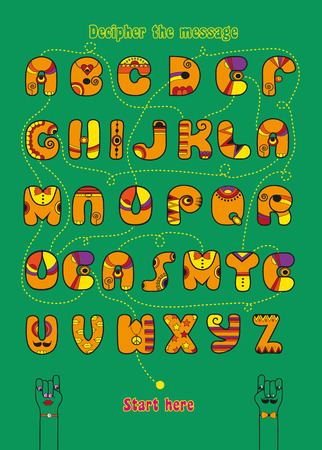 Artistic alphabet with encrypted romantic message We make a good team. Cartoon orange letters with bright decor. Funny hands looking at each other. Inscriptions - Decipher the message and Start here. Illustration