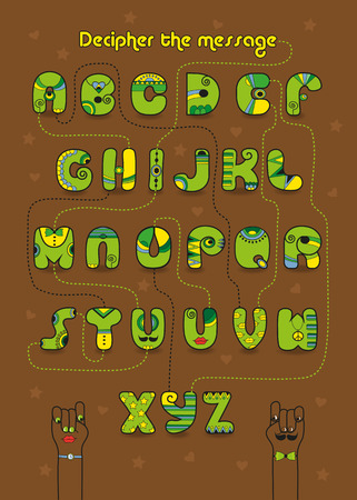 Artistic alphabet with encrypted romantic message I must have you. Cartoon green letters with bright decor. Funny hands looking at each other. Yellow text - Decipher the message. Illustration