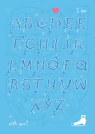 Artistic alphabet with encrypted romantic message I am enamored with you. Blue letters with geometric decor. White skate. Red heart. Graceful snowfall. Illustration Stock Photo