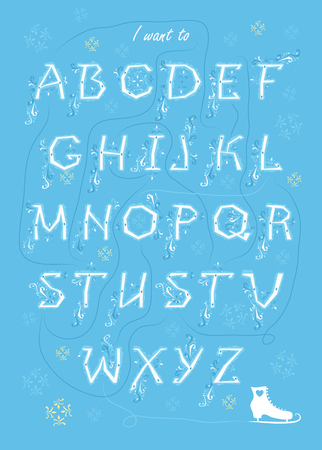 Artistic alphabet with encrypted romantic message I want to take this slow. White letters with frost decor. Graceful snowfall. White skate is as the end of message. Illustration
