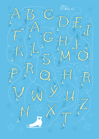 Artistic alphabet with encrypted romantic message This is more than a crush. Yellow letters with bluedecor. White skate is as the end of message. Illustration Stock Photo