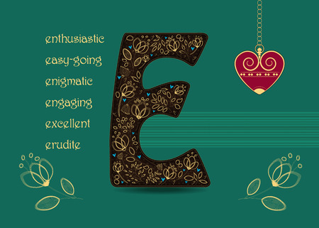 Name Day Card for custom name. Brown letter E with golden floral decor. Vintage red heart with chain. Words begining with the letter E - easy-going, anthusiastic, enigmatic, engaging, erudite, excellent
