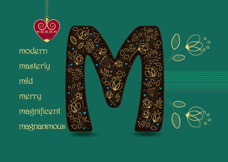 Name Day Card for custom name. Artistic brown letter M with golden floral decor. Vintage red heart with chain. Words begining with the letter M - magnanimous, magnificent, mild, masterly, merry, modern Stock Photo