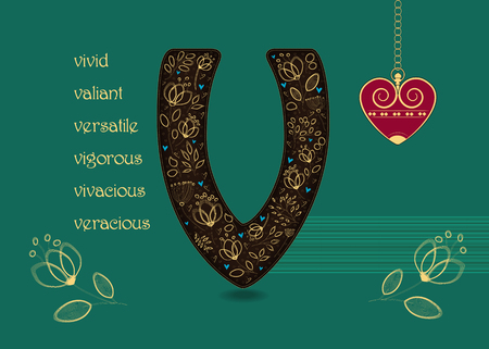 Name Day Card for custom name. Artistic brown letter V with golden floral decor. Vintage red heart with chain. Words begining with the letter V - vivid, veracious, valiant, vigorous, vivacious, versatile