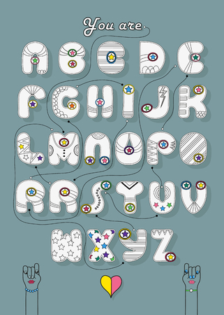 Artistic alphabet with encrypted romantic message for gay women You are my supergirl. Cartoon white letters with bright decor. Funny female hands looking at each other. Illustration