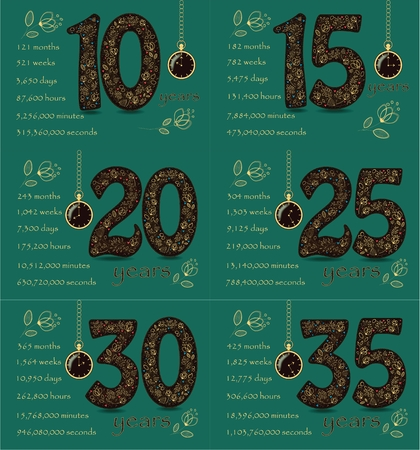 Artistic brown numbers with yellow floral decor Stock Photo