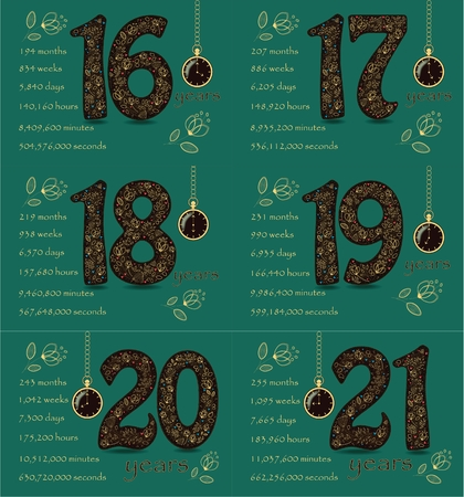 Artistic brown numbers with yellow floral decor Stok Fotoğraf