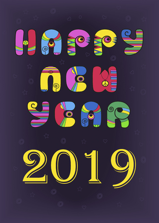 Happy New Year 2019. Festive inscription by artistic retro font - bright colorful letters with disco style. Purple background with stars and hearts. Vector illustration Çizim