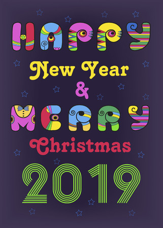 Happy New Year and Merry Christmas 2019. Bright artistic letters with colorful disco decor. Green number. Purple background with stars and hearts. Vector Illustration