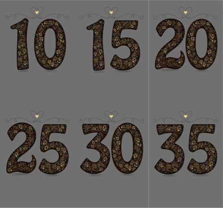 Brown Floral Numbers Ten, Fifteen, Twenty, Thirty Five.