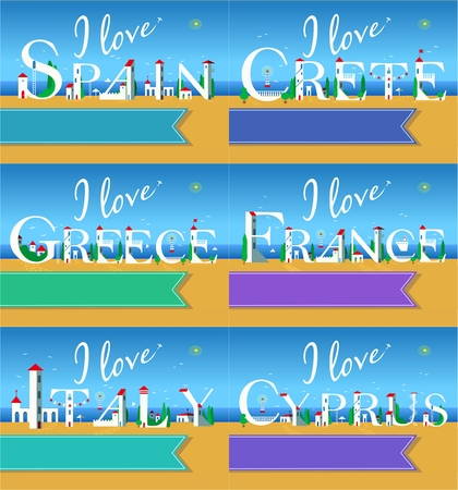 I love Spain, Crete, Greece, France, Italy, Cyprus. Stock Photo