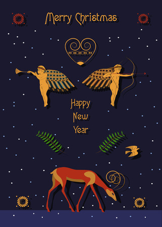 Merry Christmas. Happy New Year. Golden angels, retro heart and red antelope with the night sky and snowfall. Greeting festive card. illustration.