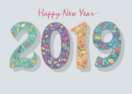 Happy New Year 2019. Colorful artistic numbers with floral decor