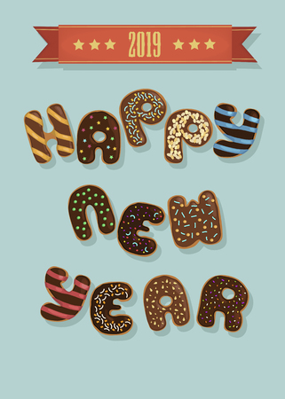 Happy New Year 2019. Artistic brown letters as chocolate donuts with cream and nuts decor.