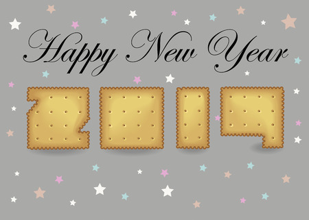 Happy New Year 2019. Artistic yellow number as cracker cookies.