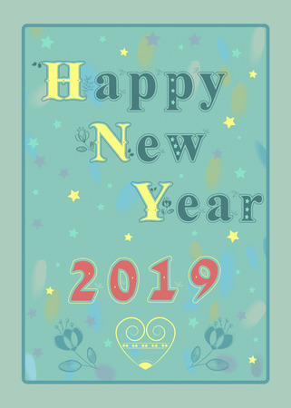 Happy New Year 2019. Blue artistic letters with graceful decor.