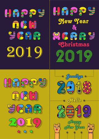 Christmas New Year 2019 Set. Vintage artistic font with disco 70s style and bright decor.