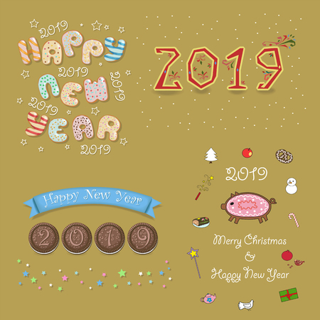 Christmas New Year 2019 Set. Inscriptions by artistic font - sweet donuts, chocolate buscuits, white cream. Funny pig is as a ginger cookies. Vector Illustration