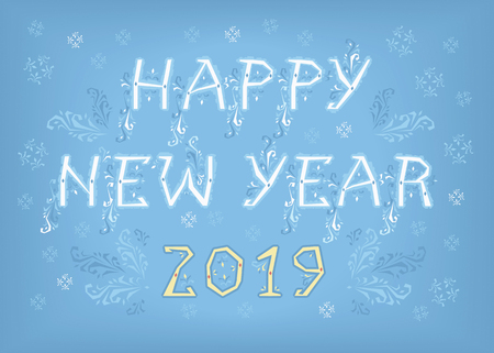White text Happy New Year and Yellow Number 2019.