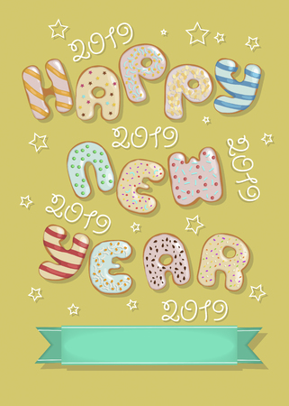 Happy New Year 2019. Artistic colorful letters as sweet donuts with cream and nuts decor.