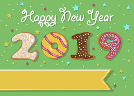 Happy New Year 2019. Artistic colorful number as sweet donuts with cream decor. Banco de Imagens
