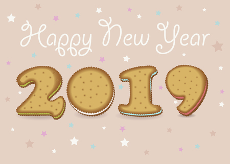 Happy New Year 2019. Artistic yellow number as cookies with colorful cream. Banco de Imagens