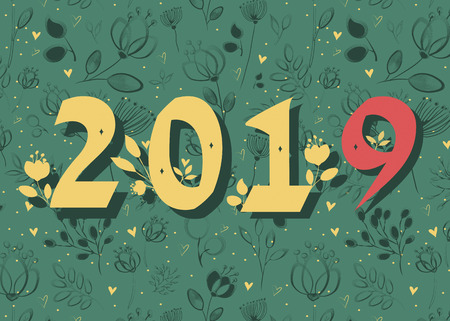 New Year 2019. Artistic yellow and red number with floral decor.