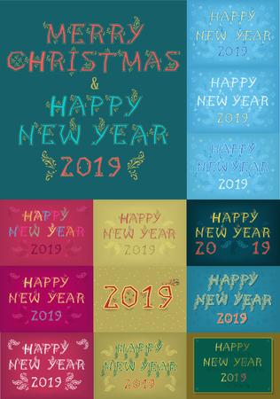 Christmas New Year 2019 Set. Ilustração