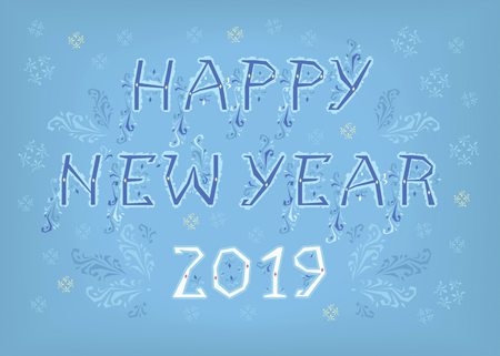 Blue text Happy New Year and White Number 2019. Artistic font with folk botanical decor. Banco de Imagens