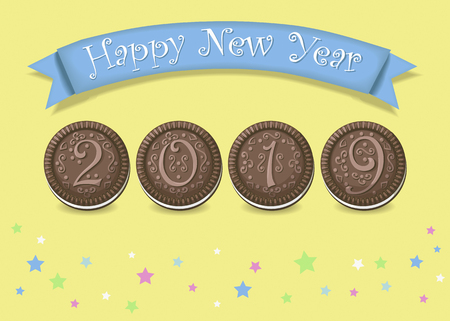 Happy New Year 2019. Artistic brown number as chocolate cookies with white cream.