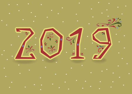 New Year 2019. Artistic red number with folk floral decor. Banco de Imagens