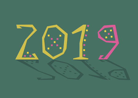 New Year yellow and pink number 2019 with geometric decor.