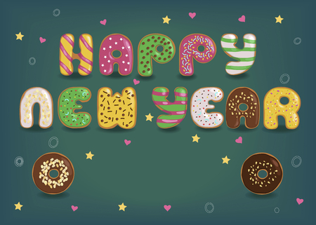 Happy New Year. Artistic colorful letters as sweet donuts with cream and nuts decor.