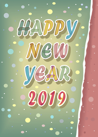 Happy New Year 2019. Artistic colorful alphabet with watercolor effect and white outlines. 免版税图像